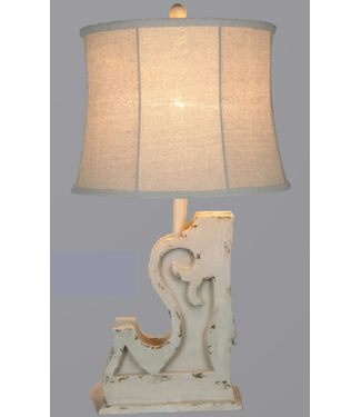 """VINTAGE DIRECT TL28331-A TABLE LAMP DISTRESSED WHITE 27.5"""""""