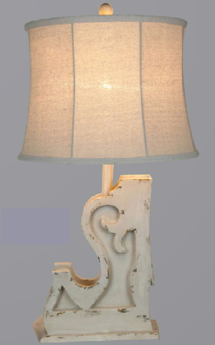 TL28331-A TABLE LAMP DISTRESSED WHITE 27.5""