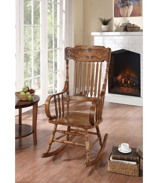 COASTER 600175 ROCKER CARVED BACK WARM BROWN