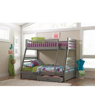 COASTER 460182 T/F BUNK BED ASHTON GREY 2 DRAWER