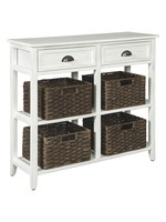 ASHLEY OSLEMBER CONSOLE TABLE WITH BASKETS WHITE