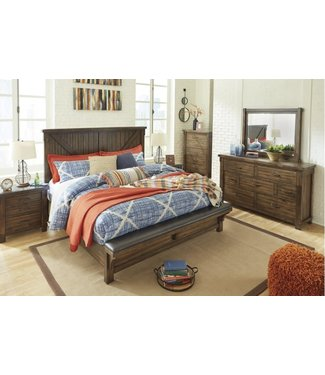 ASHLEY B718-156/158/97 6/6 PANEL BED LAKELEIGH BROWN