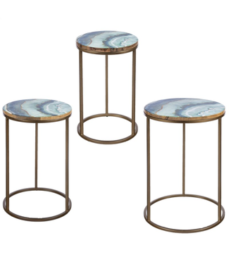 GANZ 163925 SIDE TABLE 3 PC SET ENAMEL COOL