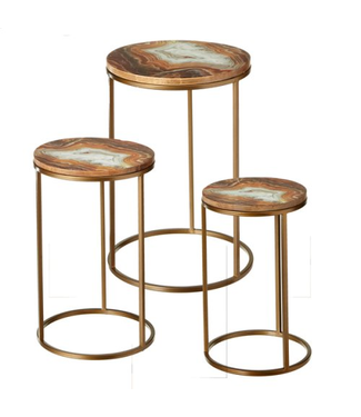 GANZ 163928 SIDE TABLE 3 PC SET ENAMEL WARM