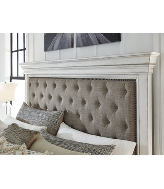 ASHLEY QUEEN HEADBOARD UPHOLSTERED KANWYN WHITEWASH