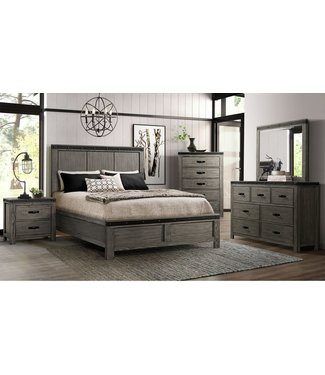 ELEMENTS WE600KH/F/R 6/6 PANEL BED WADE GRAY