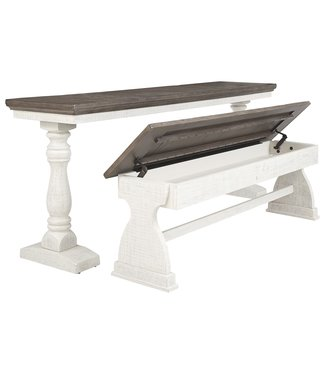 ASHLEY D504-111 DINING TABLE & BENCH BRAELOW GREY & WHITE