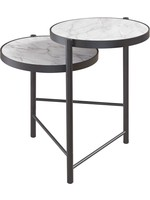 ASHLEY ROUND END TABLE PLANNORE METAL/FAUX MARBLE