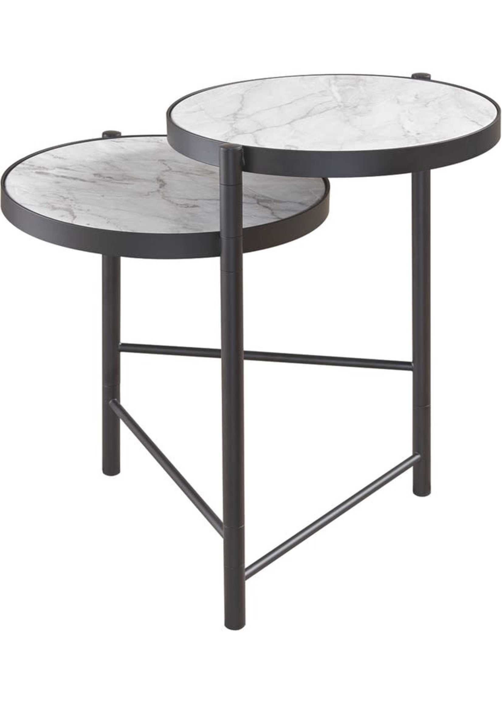 ASHLEY T148-6 ROUND END TABLE PLANNORE METAL/FAUX MARBLE