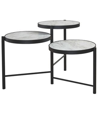ASHLEY T148-8 ROUND COCKTAIL TABLE PLANNORE METAL/FAUX MARBLE