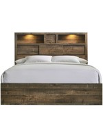 ELEMENTS KING BED BAILEY DRIFT FINISH STORAGE HEADBOARD WITH LIGHTS & SPEAKERS