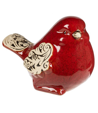 GIFTCRAFT 172253 BIRD SCROLL RED