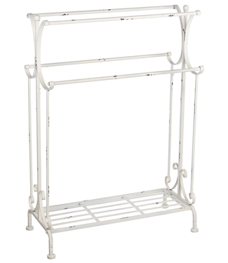 GANZ BLANKET STAND DISTRESSED WHITE