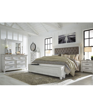 ASHLEY KANWYN KING UPHOLSTERED BED WITH STORAGE FOOTBOARD