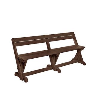 C.R. PLASTICS HARVEST DINING BENCH W/BACK CHOCOLATE