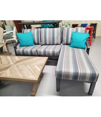 C.R. PLASTICS SOFA WITH CHAISE EXTENSION W/ CUSHIONS TRUSTED COAST