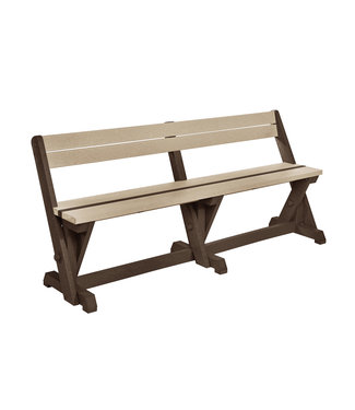C.R. PLASTICS B202-16-07 DINING BENCH W/BACK CHOCOLATE/BEIGE
