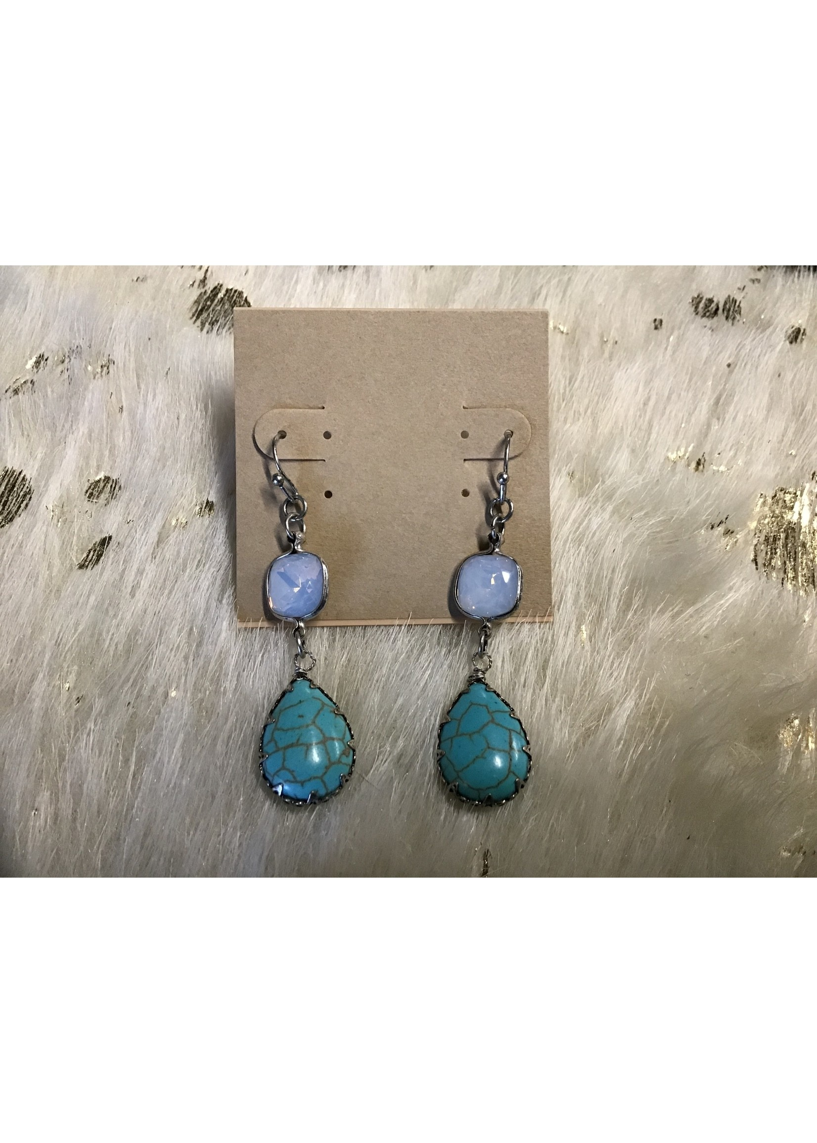 EAR-TQSTONE EARRING STONE TURQUOISE/PEARL