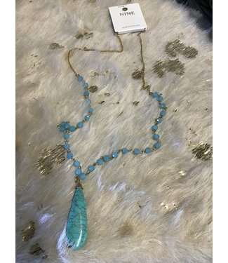 NECK-CN4024 NECKLACE TORQUOISE STONE/GOLD