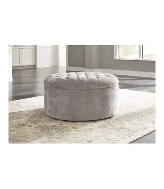 ASHLEY OVERSIZE ACCENT OTTOMAN ROUND DOVE