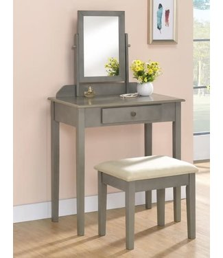 CROWNMARK 2208SET-GY VANITY & STOOL IRIS GRAY