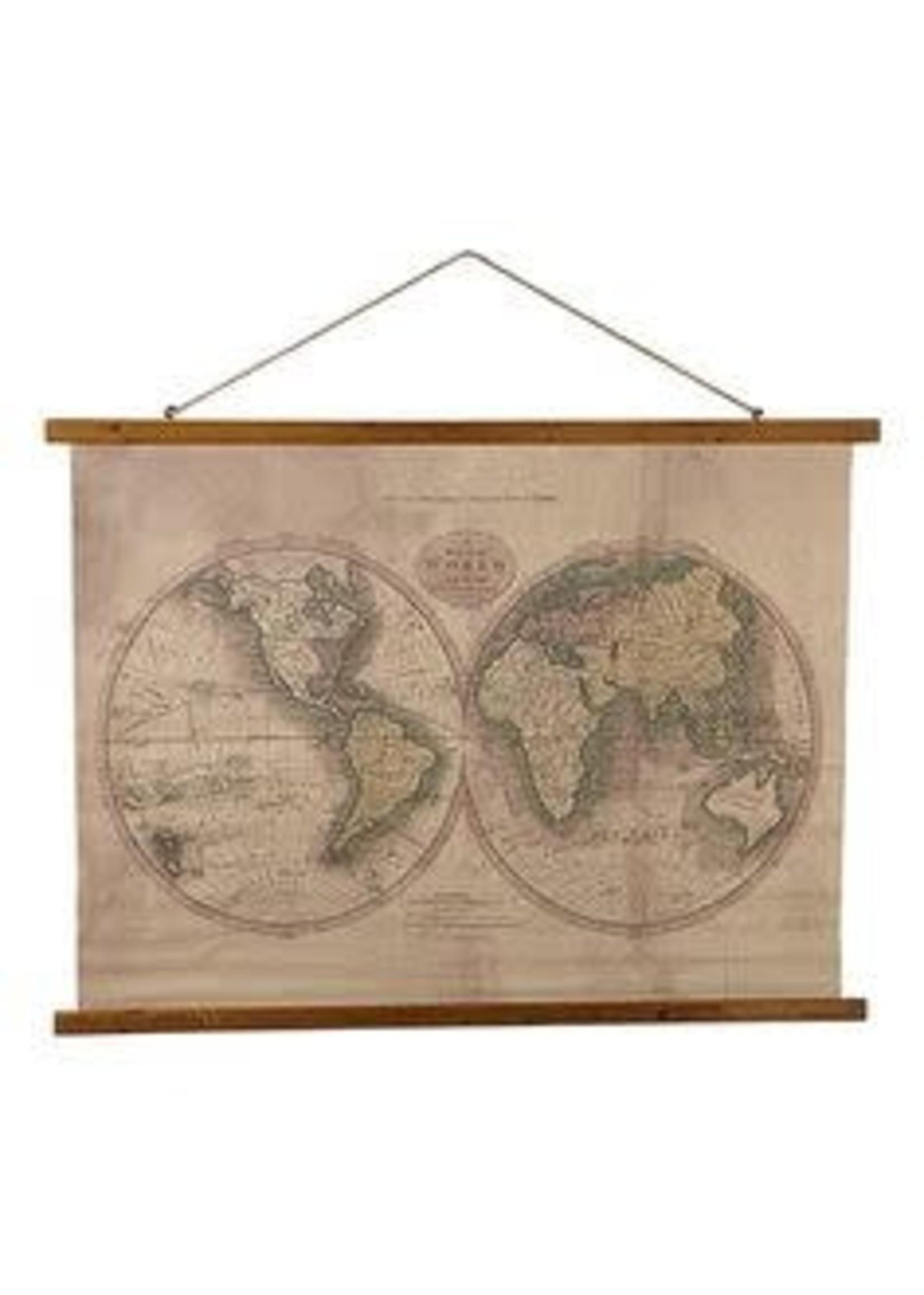 GANZ WORLD MAP PRINT BURLAP
