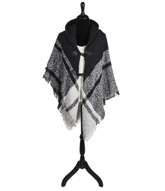 GANZ PONCHO SHAWL BLACK/WHITE