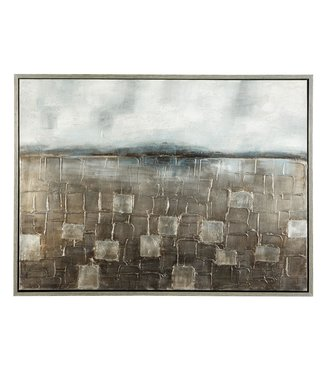 ASHLEY DZIGBODE CANVAS BLUE & SILVER FINISH WALL ART