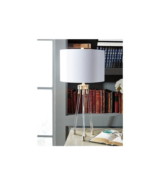 ASHLEY IDALIA ACRYLIC TABLE LAMP IN CLEAR/SILVER FINISH