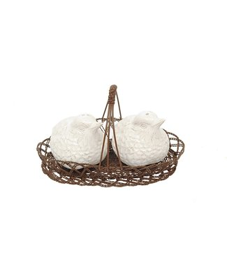 CREATIVE CO-OP CERAMIC BIRD SALT 7 PEPPER SHAKER IN WIRE BASKET