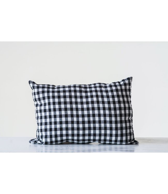CREATIVE CO-OP COTTON BLEND PILLOW GINGHAM BLACK & WHITE