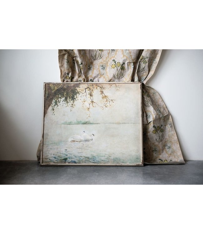 CREATIVE CO-OP WOOD FRAMED WALL DECOR WITH VINTAGE SWANS