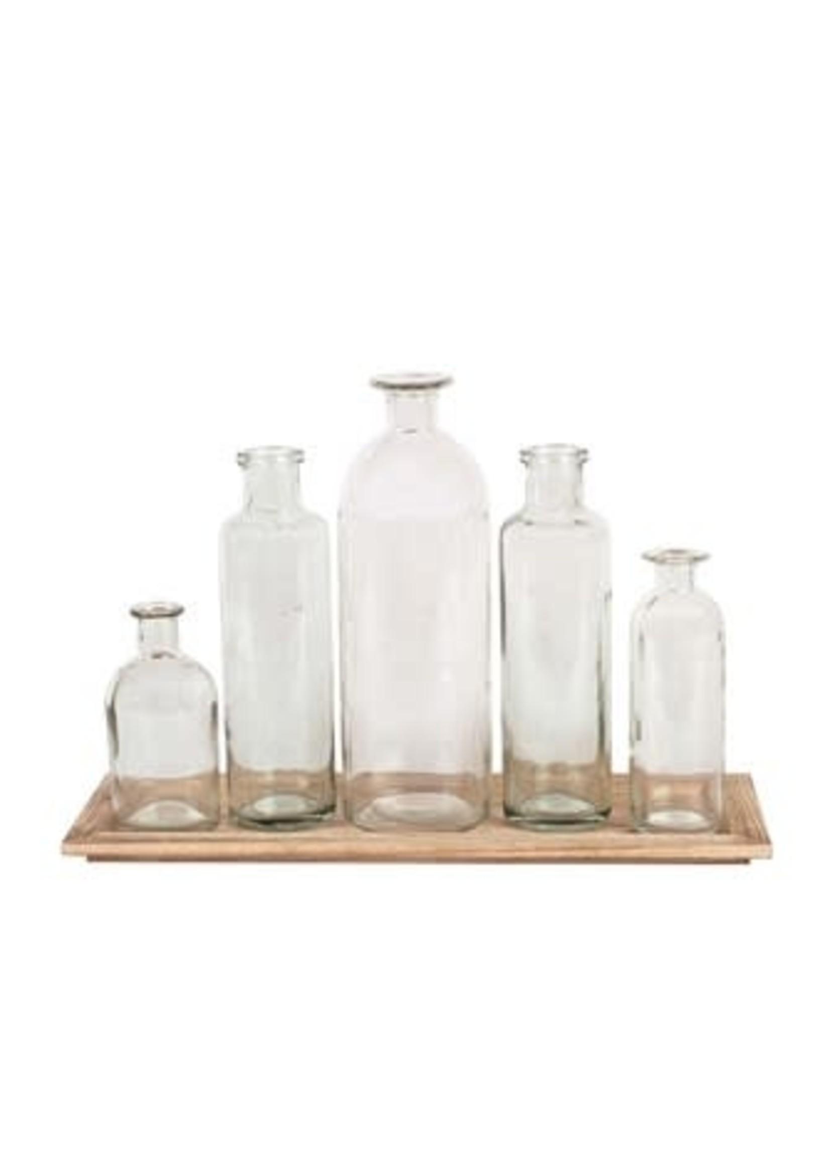 CREATIVE CO-OP DA2672 WOOD TRAY W/ 5 GLASS BOTTLE VASES