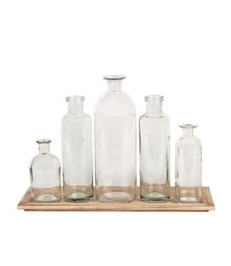 CREATIVE CO-OP WOOD TRAY W/ 5 GLASS BOTTLE VASES