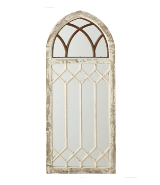 MIDWEST CBK DISTRESSED ARCH WALL MIRROR WITH WINDOW FRAME OVERLAY