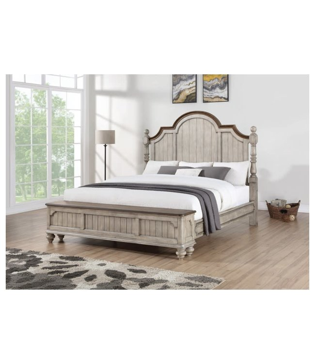 FLEXSTEEL PLYMOUTH KING POSTER BED WITH STORAGE  FOOTBOARD IN WHITEWASH-GRAY