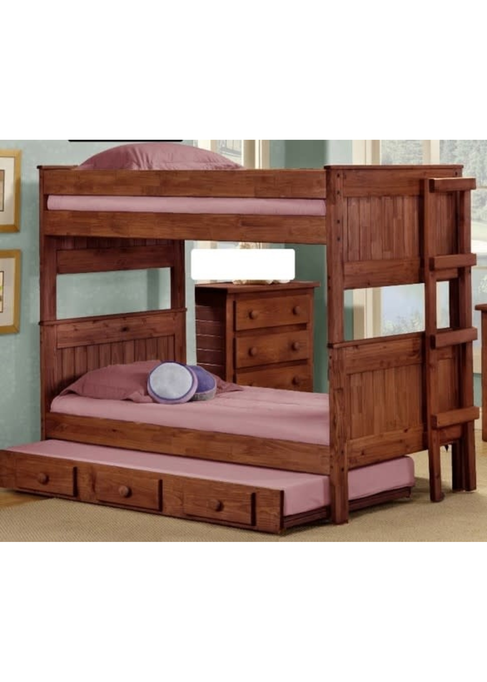 PINE CRAFTER 4013MAH 3/3 TWIN/TWIN STACKABLE BUNK BED MAHOGANY (TRUNDLE SEPERATE)