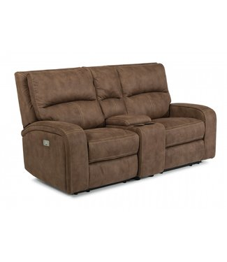 FLEXSTEEL NIRVANA POWER RECLINING LOVESEAT WITH CONSOLE & POWER HEADRESTS IN BROWN