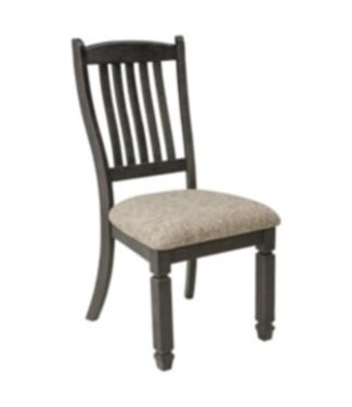 ASHLEY TYLER CREEK DINING SIDE CHAIR UPHOLSTERED SEAT BLACK/GRAY