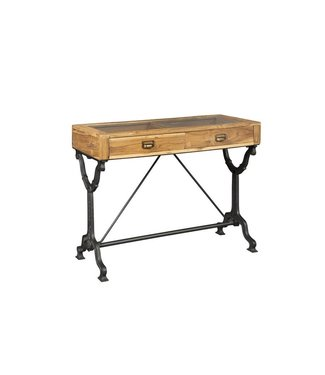 COASTER RUSTIC GLASS TOP CONSOLE TABLE