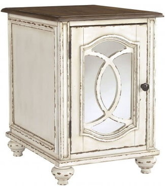 ASHLEY REALYN CHAIRSIDE TABLE IN CHIPPED WHITE