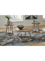 ASHLEY FRIELONE 3 PIECE OCCASIONAL TABLE SET IN BROWN/BLACK
