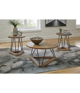 ASHLEY 3 PC OCCASIONAL TABLE SET FRIELONE  BROWN/BLACK