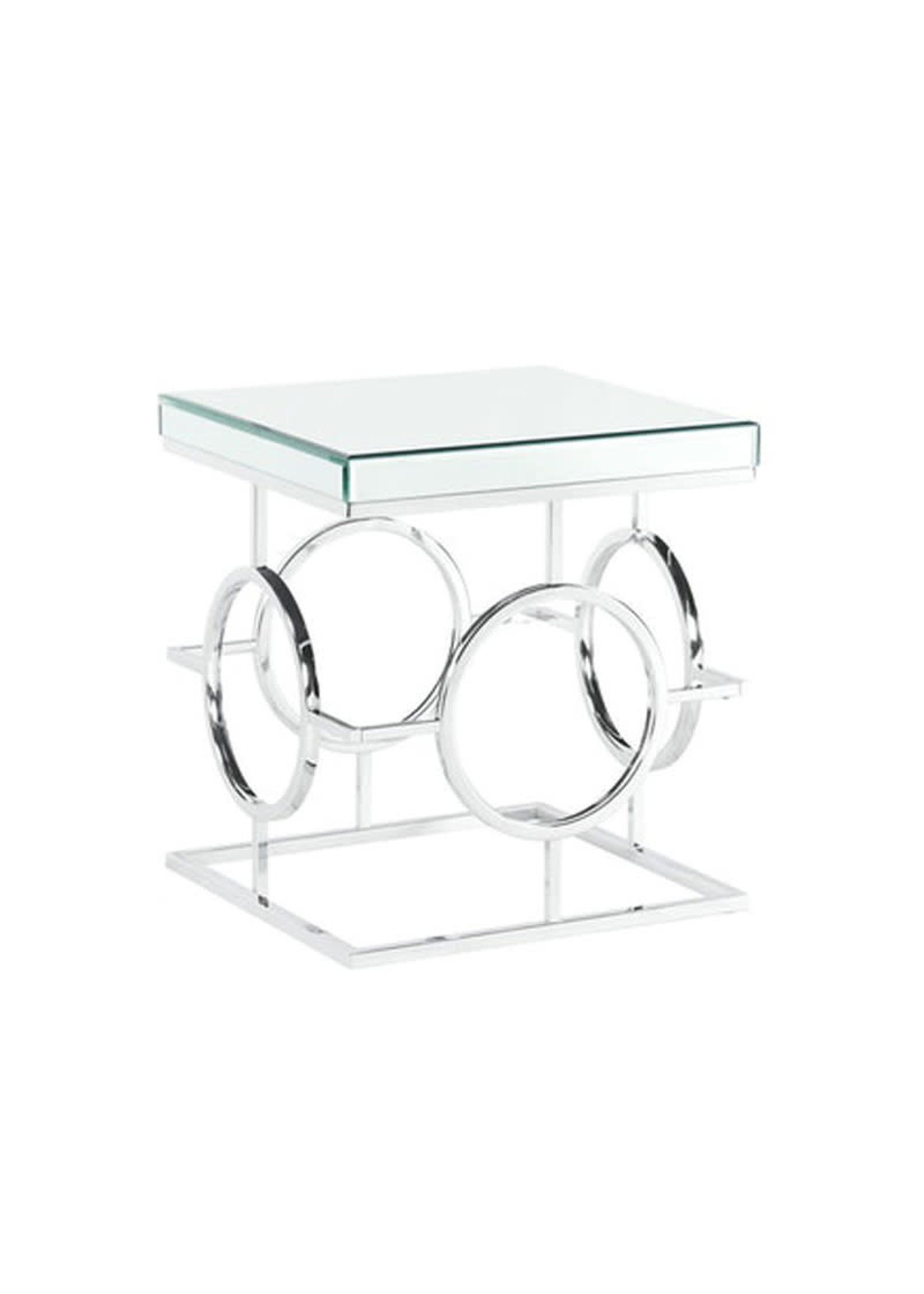 ELEMENTS PEARL GLASS/METAL END TABLE