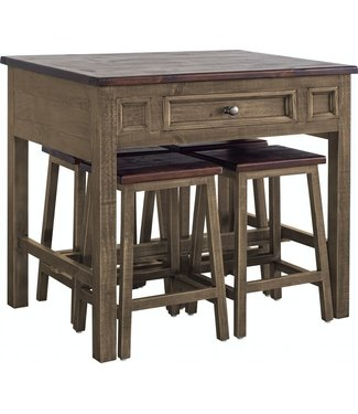 ELEMENTS IBIZA KITCHEN ISLAND WITH 4 STOOLS ANTIQUE BROWN