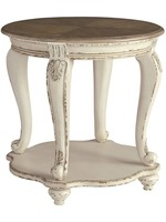 ASHLEY REALYN ROUND END TABLE TWO-TONE
