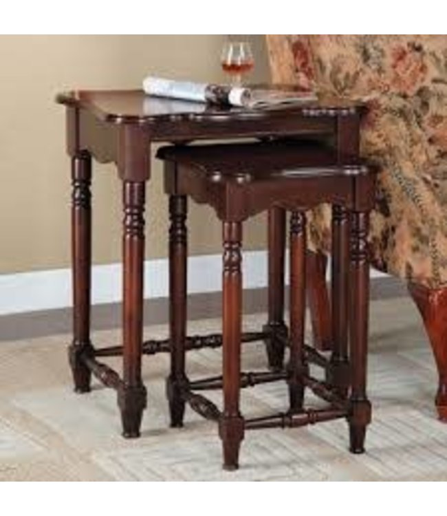 POWELL 716-266 END TABLE 2PC SET BROWN CHERRY