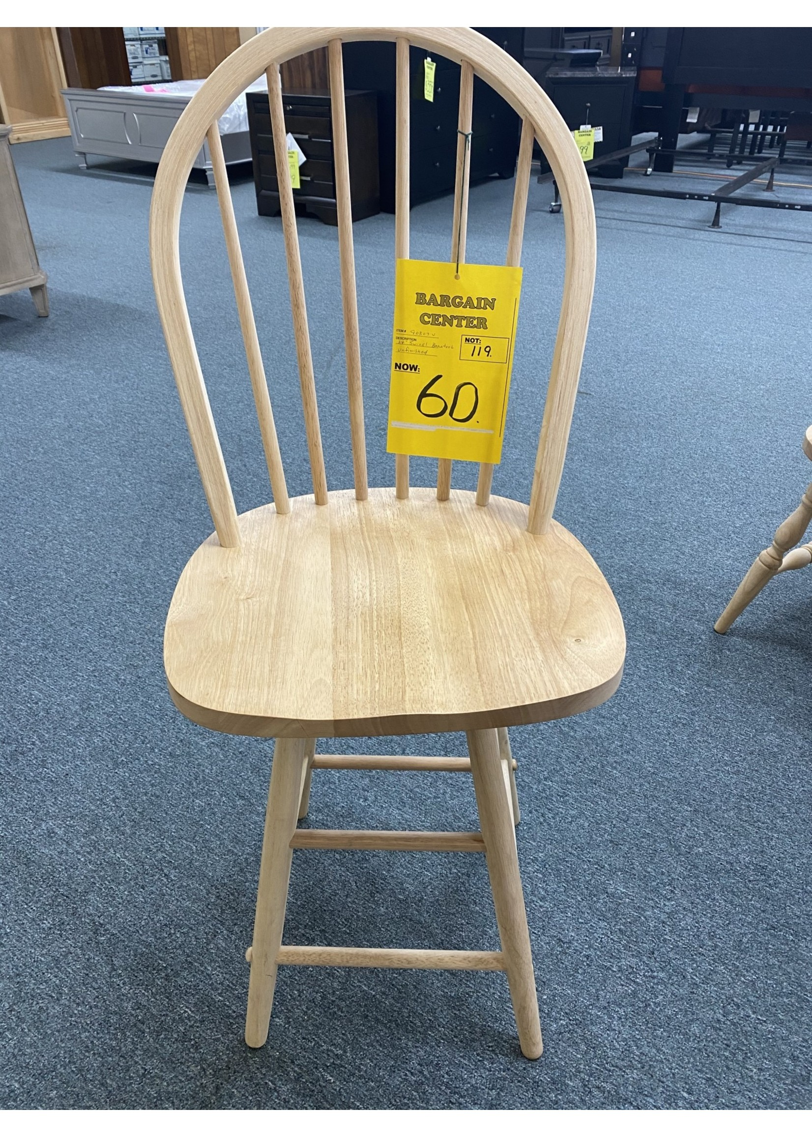 COUNTER HIGH SWIVEL CHAIR UNFINISHED