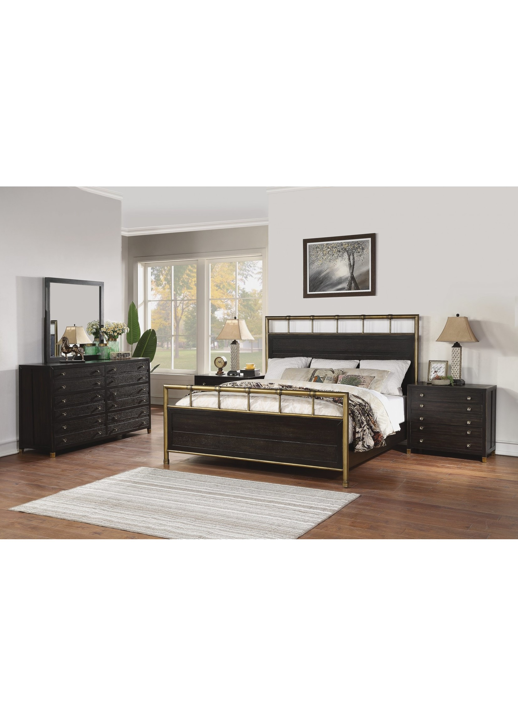 FLEXSTEEL COLOGNE 12 DRAWER DRESSER IN BLACK OAK