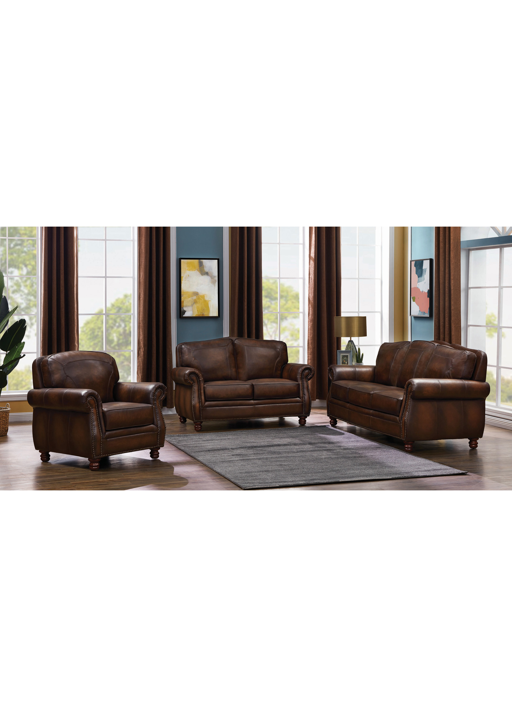 COASTER 503982 LOVESEAT HAND RUBBED LEATHER MONTBROOK BROWN
